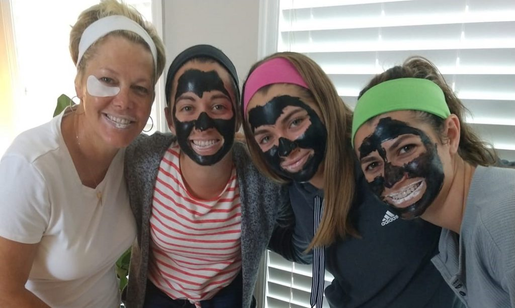 Spa with Friends facial mask at spa event